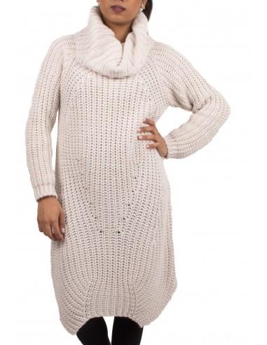Robe pull laine col roulé en grosse maille pour femme divers coloris 11e2446d0bd6