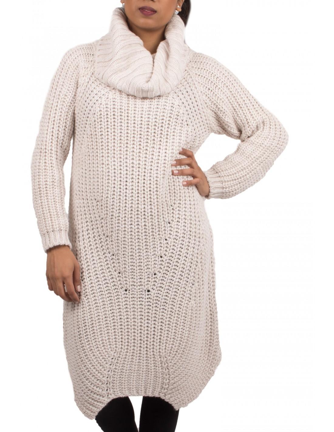 5d76546014e Robe pull laine col roulé en grosse maille pour femme divers coloris