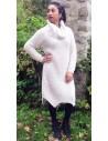 Robe pull laine col roulé en grosse maille pour femme