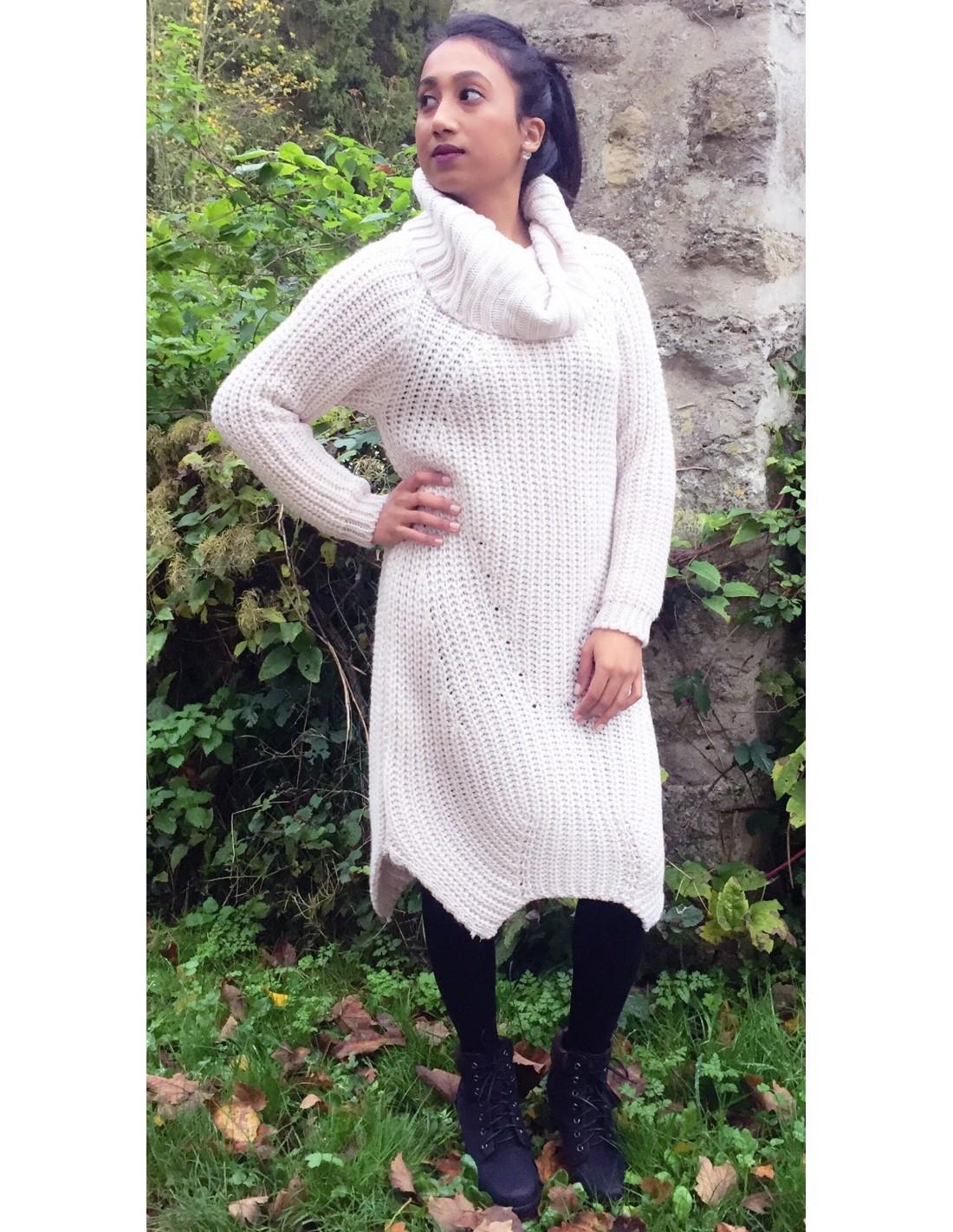 robe pull laine col roul en grosse maille pour femme divers coloris. Black Bedroom Furniture Sets. Home Design Ideas