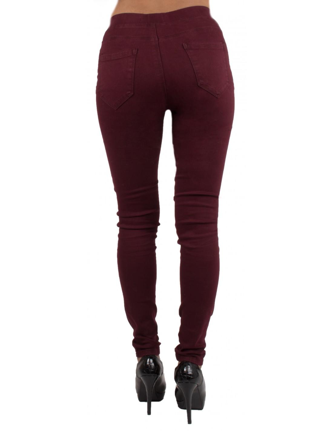 ... Jegging bordeaux taille haute forme jean slim ultra stretch femme