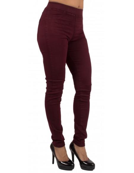 Jegging bordeaux taille haute forme jean slim ultra stretch femme
