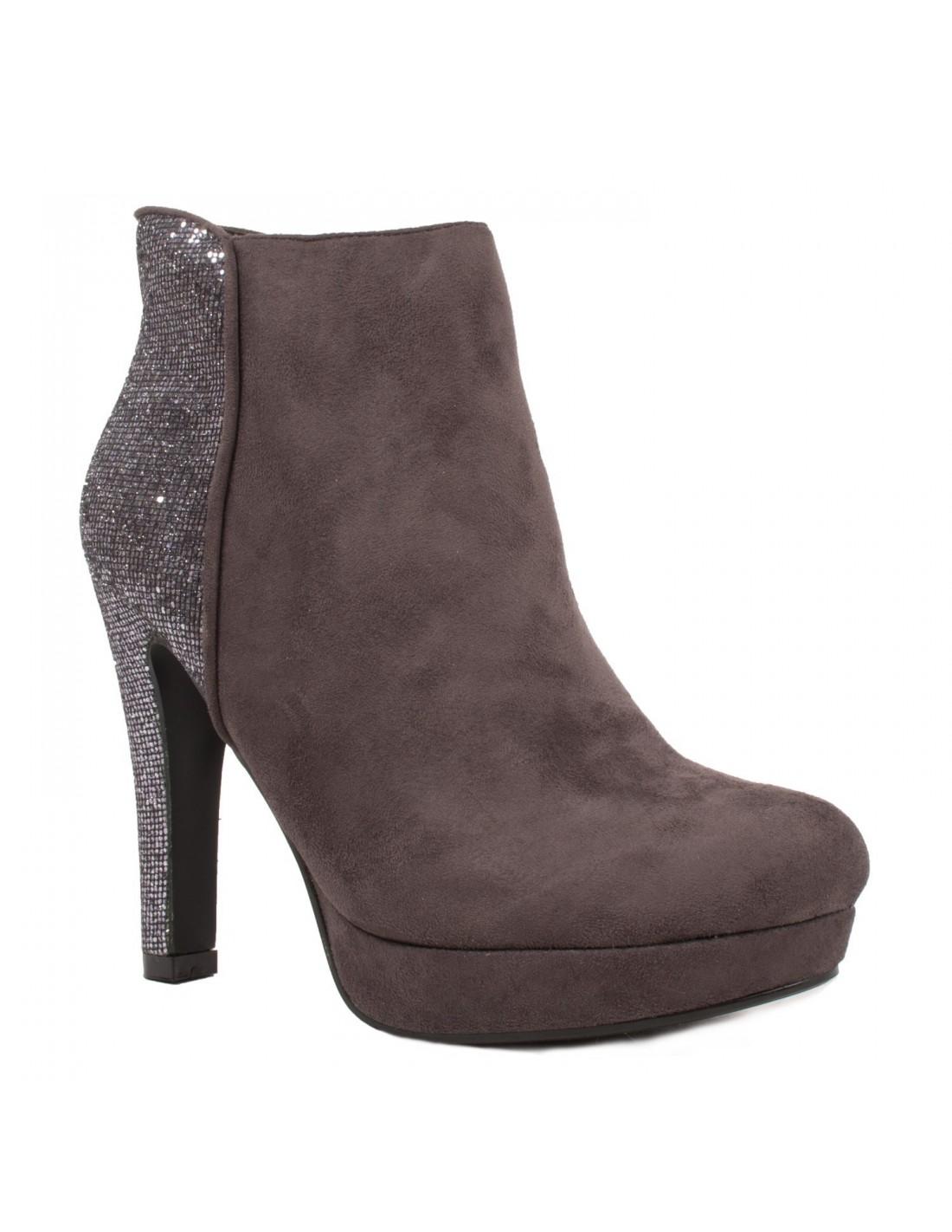 Primtex Bottines à talon pailleté strass & plateforme en suédine style e Noir - Chaussures Bottine Femme
