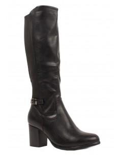 Bottes cavalière élastique femme à petit talon en simili cuir noir