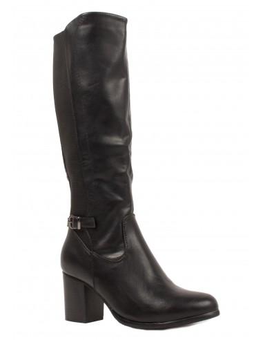 Bottes femme élastique à petit talon en simili cuir noir