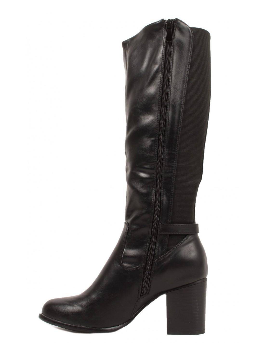 bottes cavali res lastique femme petit talon en simili cuir noir. Black Bedroom Furniture Sets. Home Design Ideas