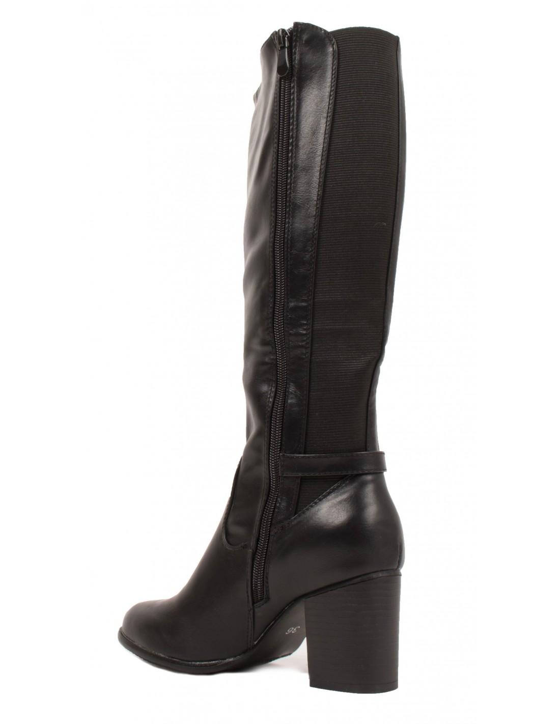 a4ff9de72935c Bottes cavalières élastique femme à petit talon en simili cuir noir