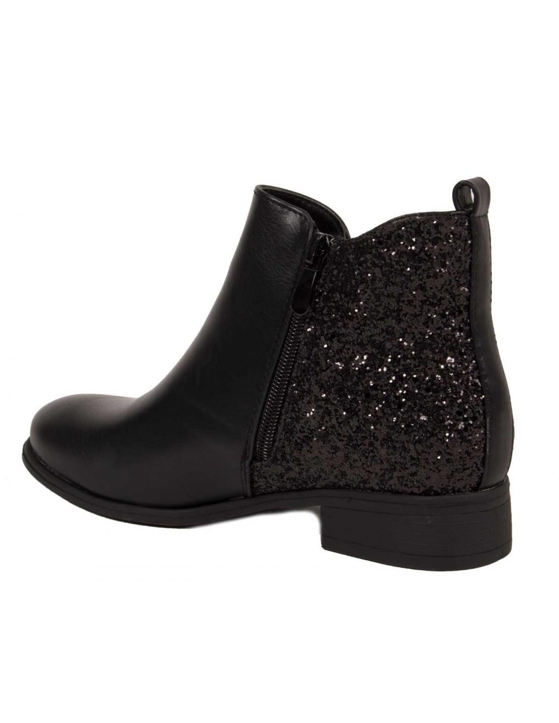 bottines chelsea noir femme simili cuir et paillettes boots paillet. Black Bedroom Furniture Sets. Home Design Ideas