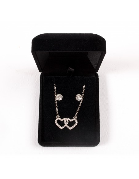 Parure de Bijoux avec Chaine, Pendentif 2 Coeurs entrelacés & Boucles d'oreilles forme diamant
