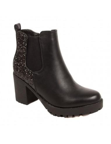 Bottines chelsea femme noir à talon épais en simili cuir - boots semelle crantée