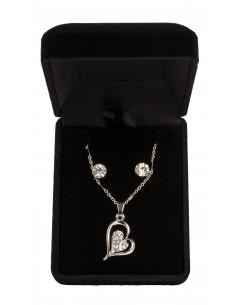 Parure de Bijoux avec Pendentif 2 Coeurs entrelacés et strass - couleur Or et argent
