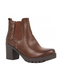 Boots chelsea femme noir à talon épais - bottines à paillettes en simili cuir