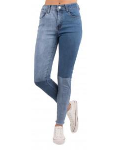 Jean slim bleu clair femme taille haute effet bicolore dégradé & franges cheville