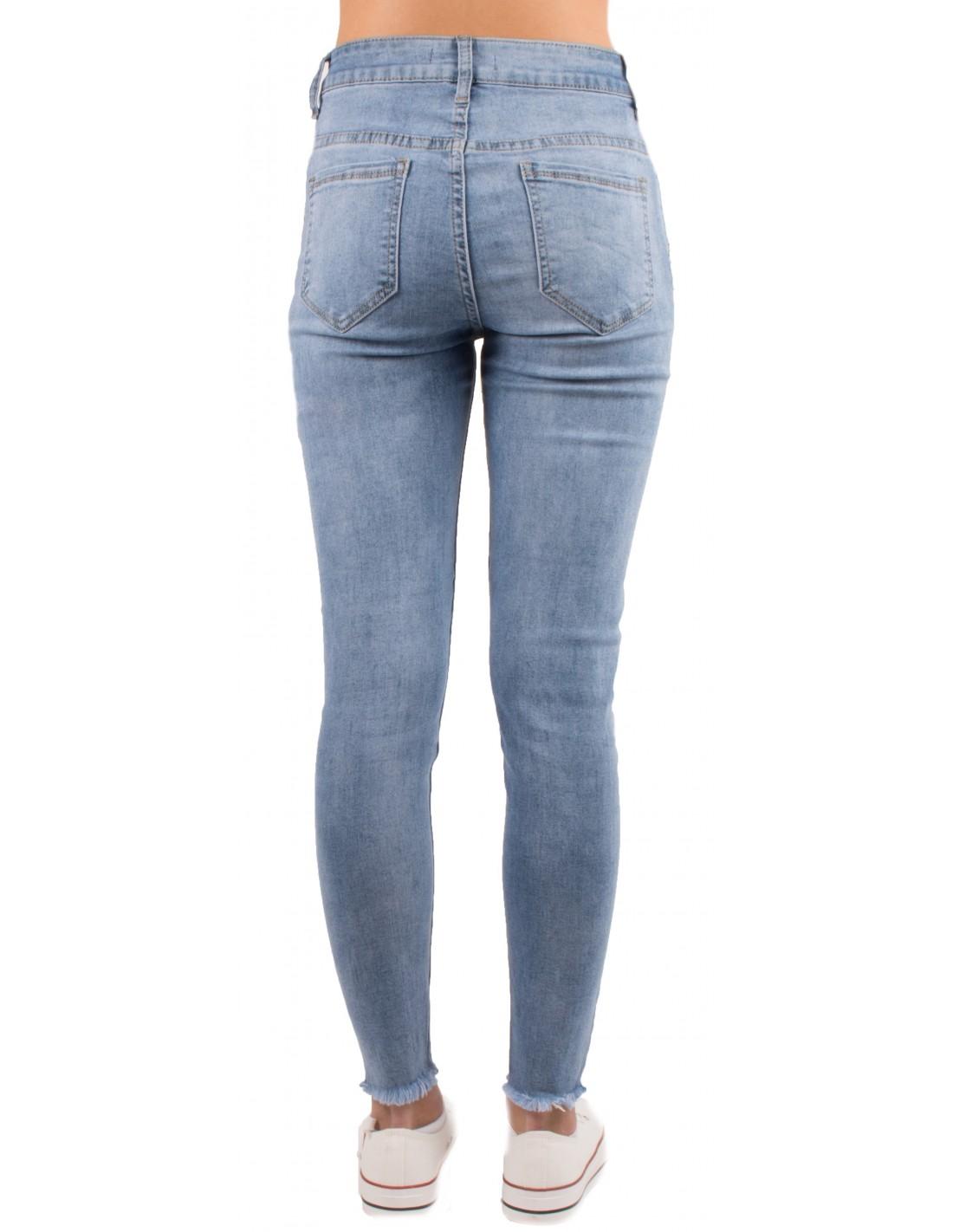 Jean slim bleu clair femme taille haute dégradé   franges cheville 08f1a65ddeee