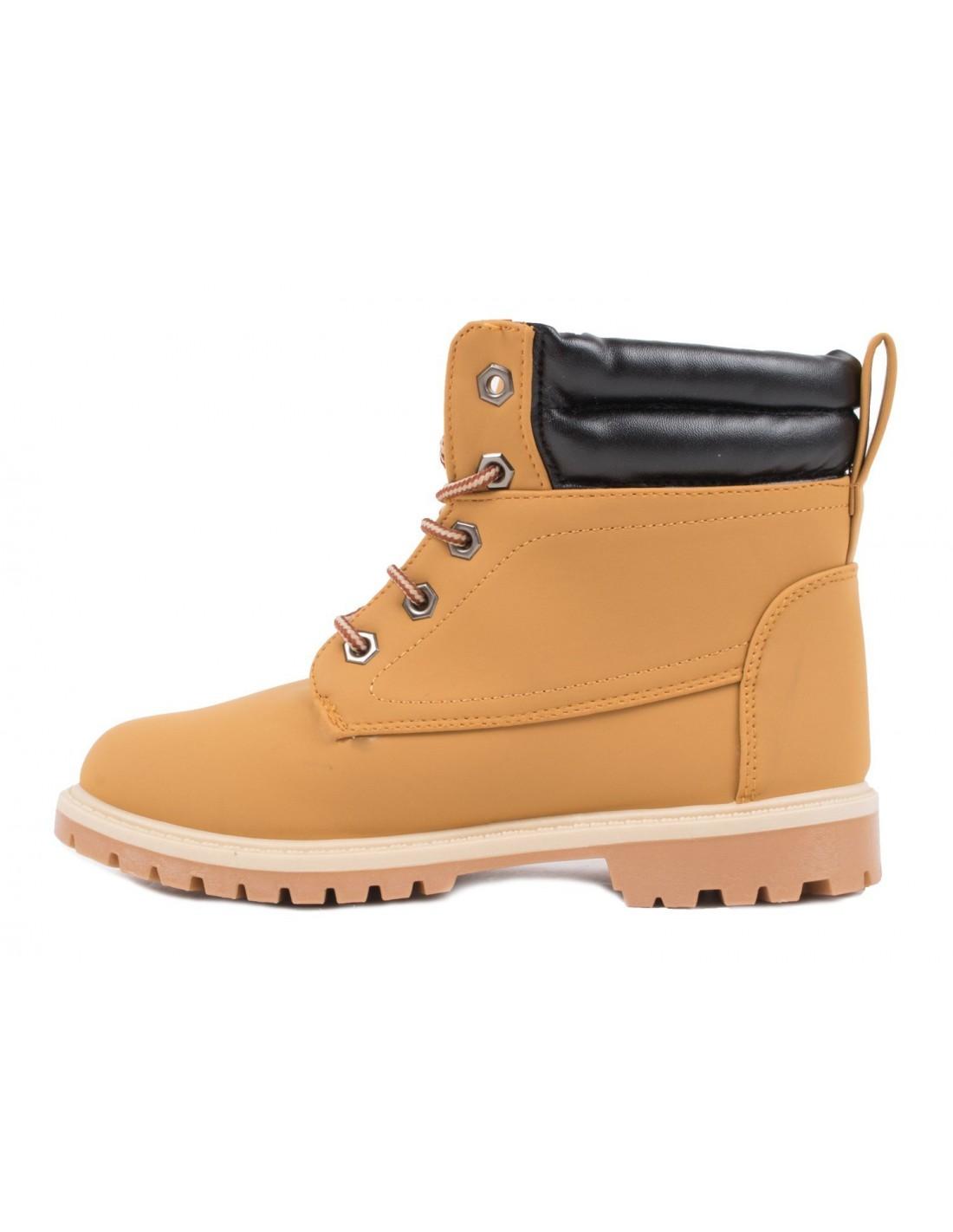 240622470ac8 ... Boots fourrées femme type rangers camel marron empiècement simili cuir  camel ...