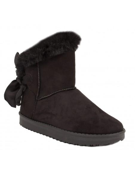Boots femme fourrées noires fantaisie ruban & fourrure