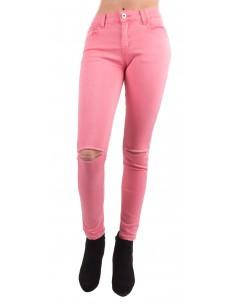 Jean slim rose fluo stretch taille haute  troué Taille 36 à 44