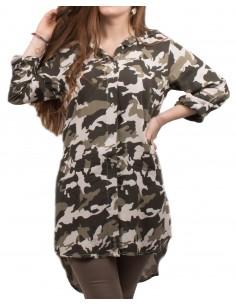 Chemise longue tunique militaire femme motif camouflage kaki