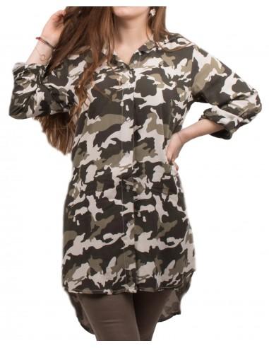 68b2cc5cd4f Chemise longue Tunique militaire femme imprimé camouflage kaki
