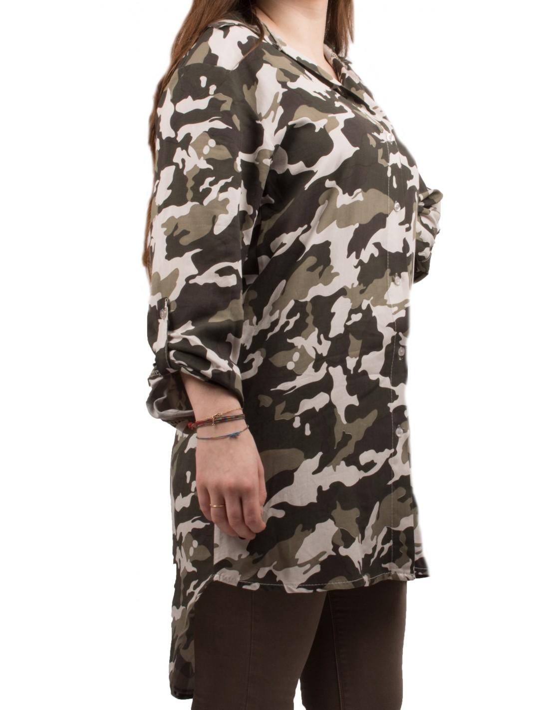 chemise longue tunique militaire femme imprim camouflage kaki. Black Bedroom Furniture Sets. Home Design Ideas