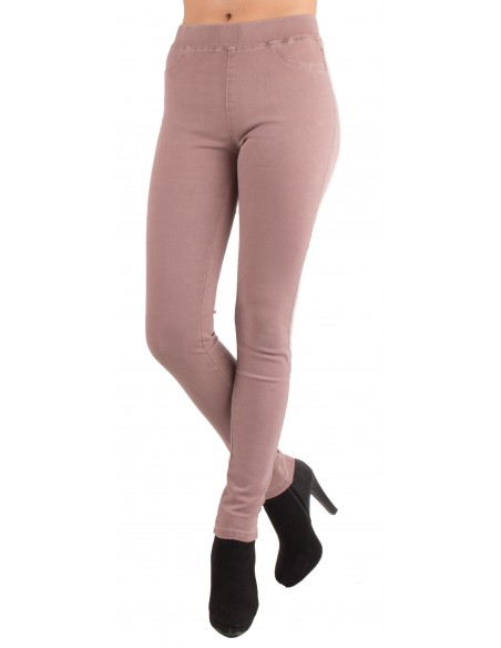 Jegging rose parme taille haute forme jean slim ultra stretch femme