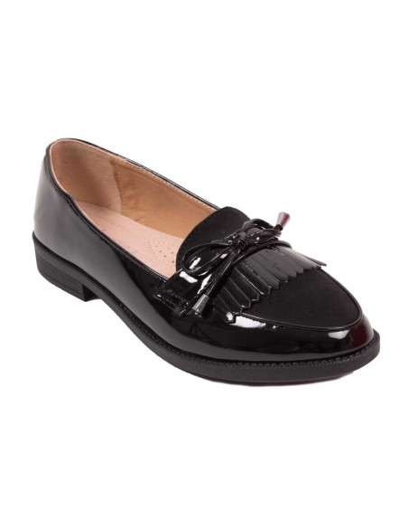 Mocassins vernis noir à franges bouts pointus type mocassins femme semelle intérieure cuir