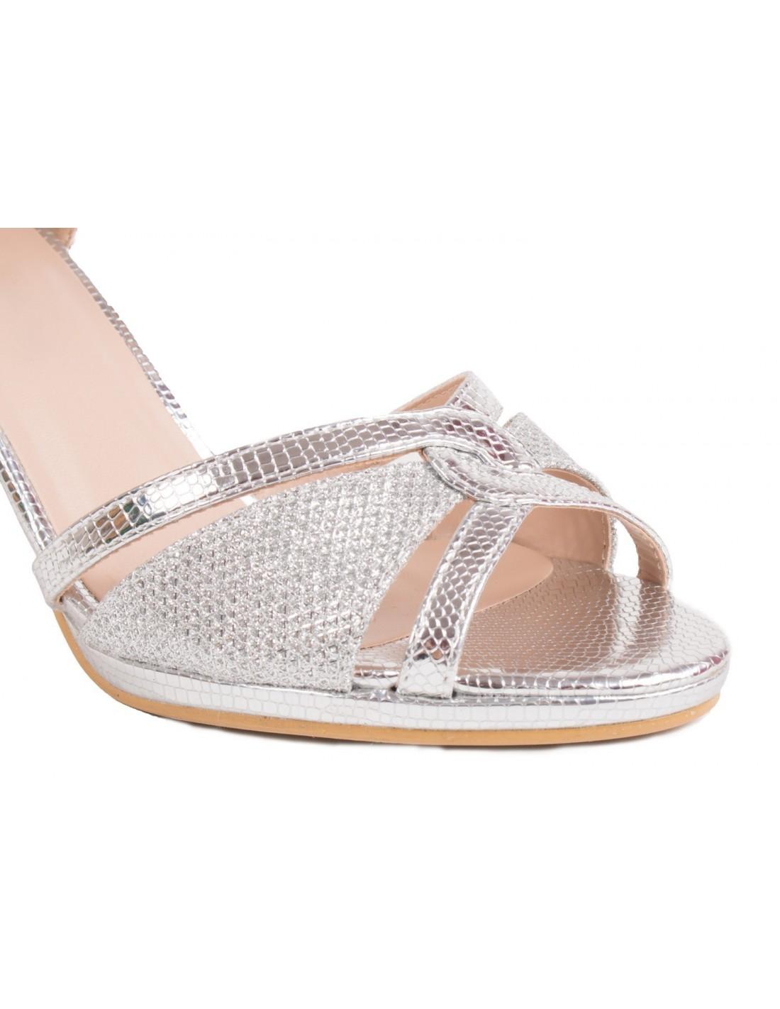 ... Chaussures ceremonie mariage argentées femme type sandales argentées à petit  talon   bout ouvert ... 63ffe0bfd01d