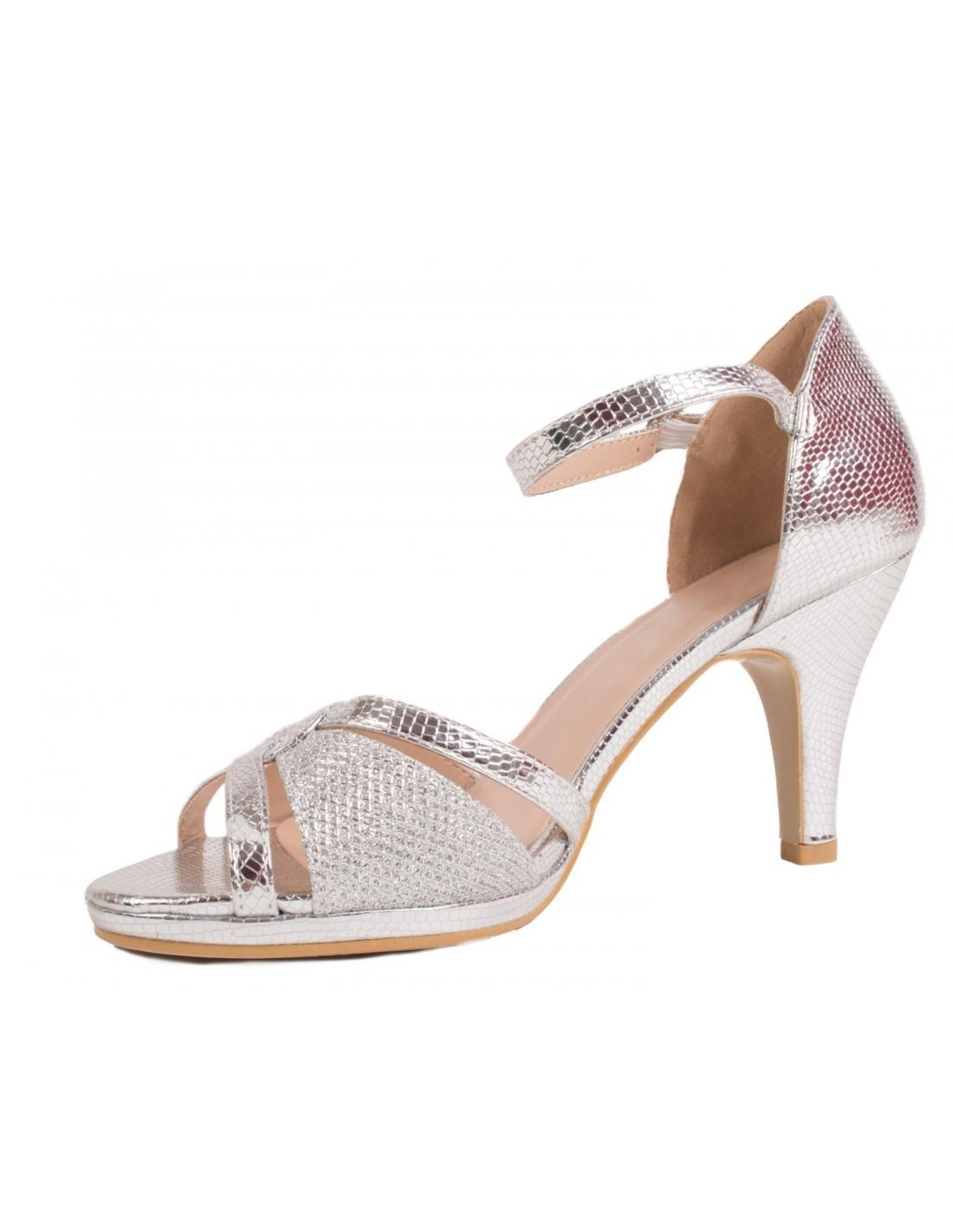 9e3d9dba604f0 Chaussures ceremonie mariage argentées femme type sandales argentées à petit  talon  u0026 bout ouvert ...