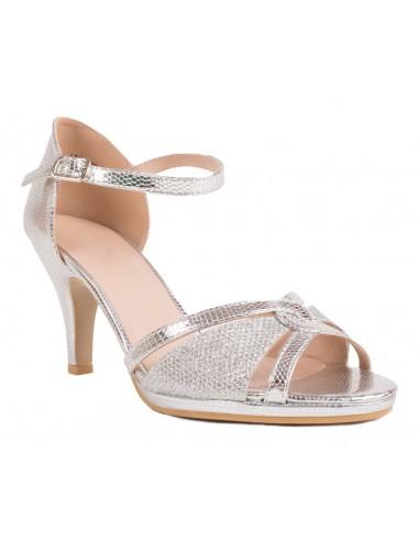 Chaussures ceremonie mariage argentées femme type sandales argentées à petit talon & bout ouvert