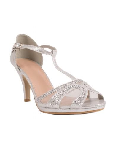 Chaussures de mariage femme argenté à strass effet brillant