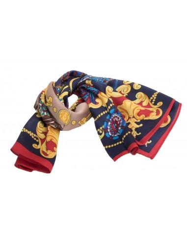 Foulard Carré Soie bleu marine motif royal dorure jaune, rouge 48e59e355a0