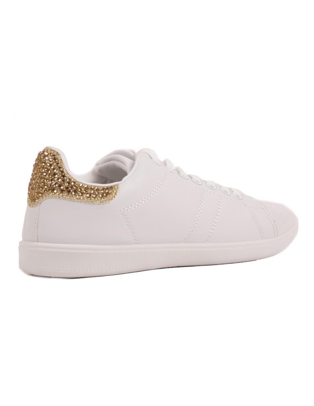 ... Baskets femme sport blanches paillettes doré argenté rose en simili  cuir ... 4a55784cb1d2