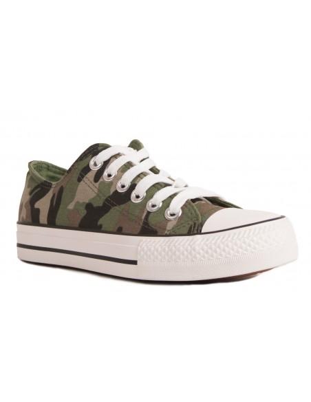 Baskets femme militaire tennis imprimé army camouflage kaki