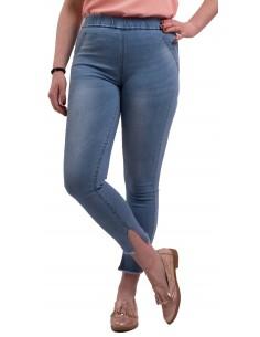 Jegging femme taille haute en jean claire élastique coupe 7/8ème