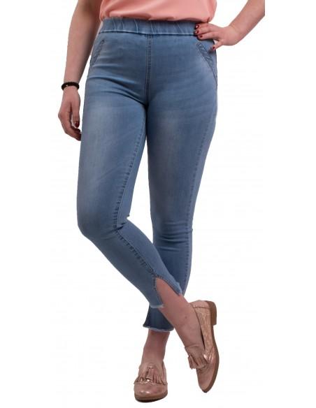 Jegging femme en jean clair taille haute élastique coupe 7/8ème