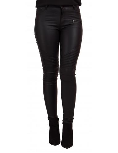 Jean femme enduit noir taille haute à zip coupe slim