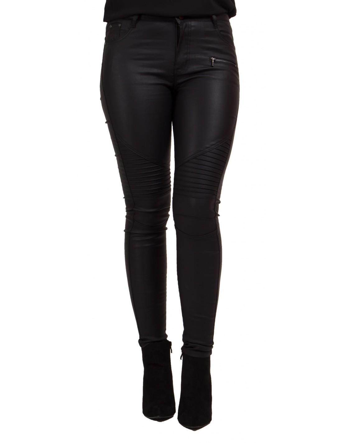 jean enduit noir coupe slim pour femme enduit stretch. Black Bedroom Furniture Sets. Home Design Ideas