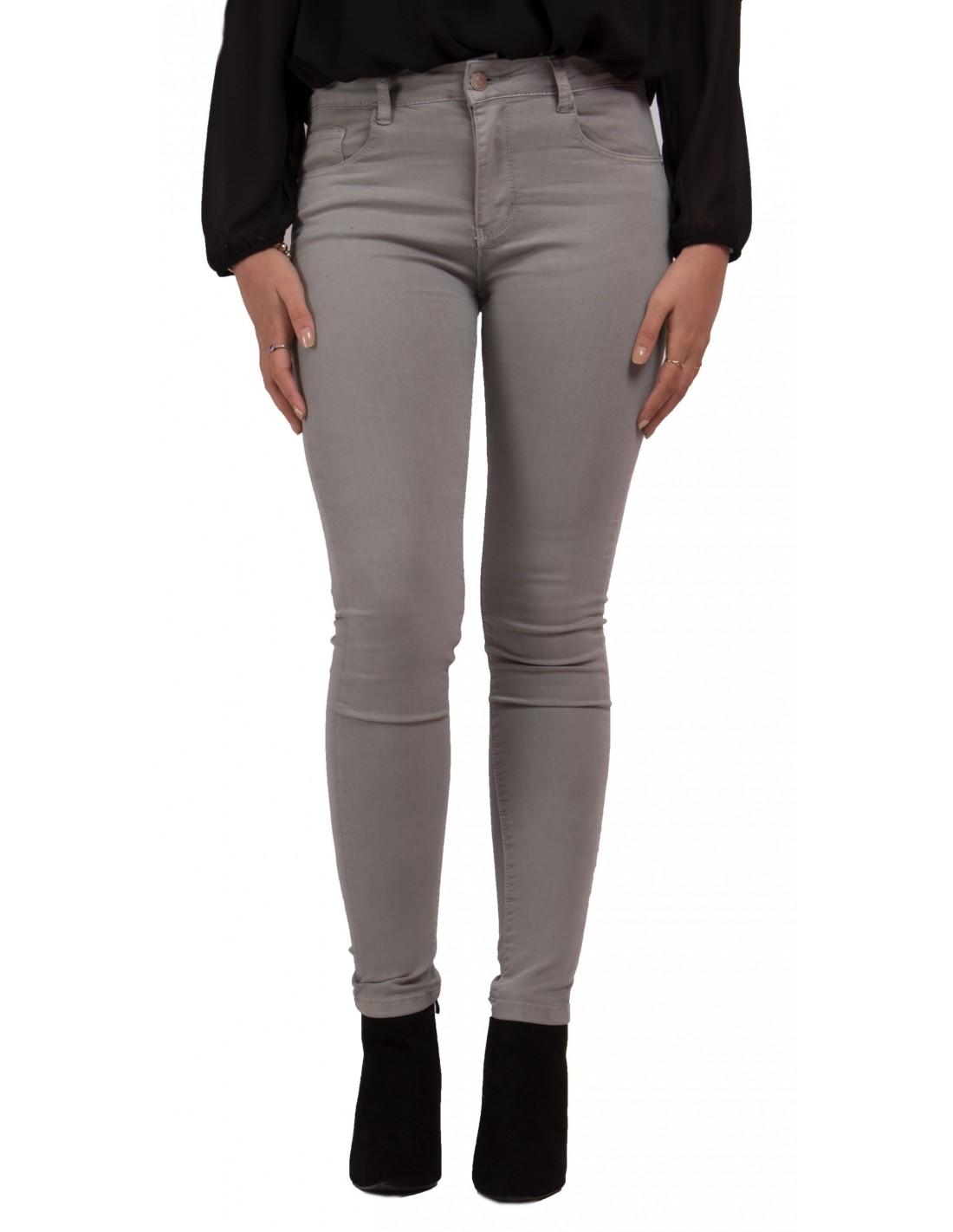 Jean slim gris clair femme taille haute coupe stretch du 34 au 42