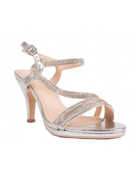 Chaussures mariage argenté femme strass & fines lanières croisées Escarpins petit talon