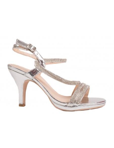 Chaussures à talon escarpins mariage argenté femme strass & fines lanières croisées
