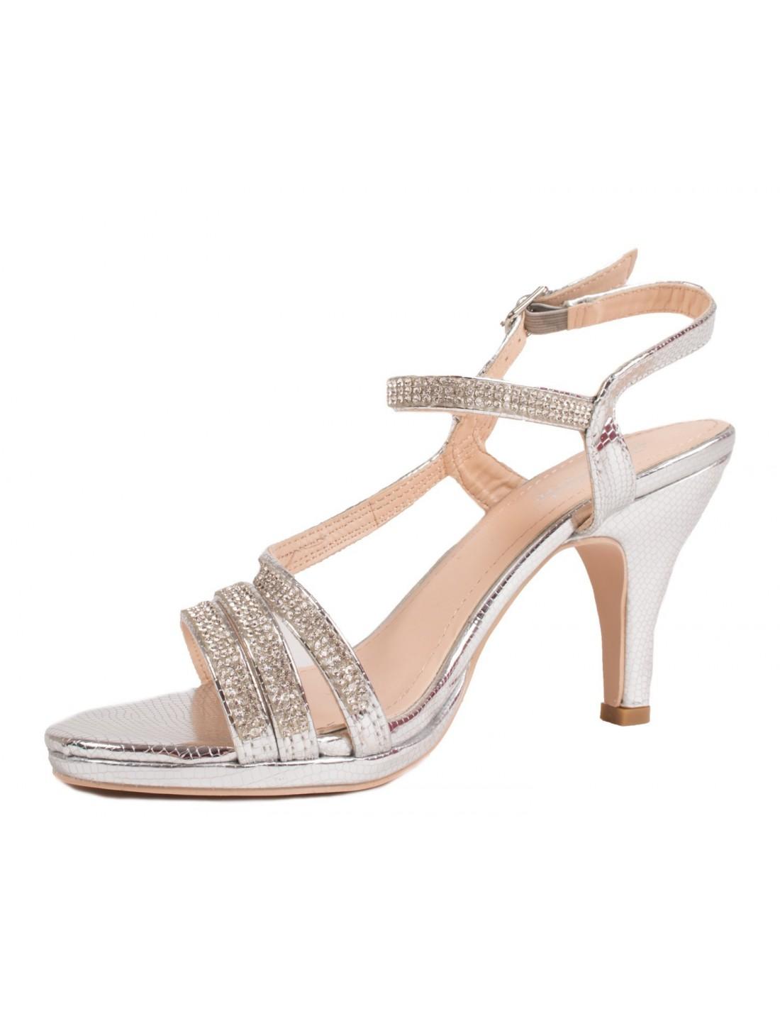 Talon Chaussures Argenté Petit Mariage Femme Strassamp; Fines Lanières bY6ymfgI7v