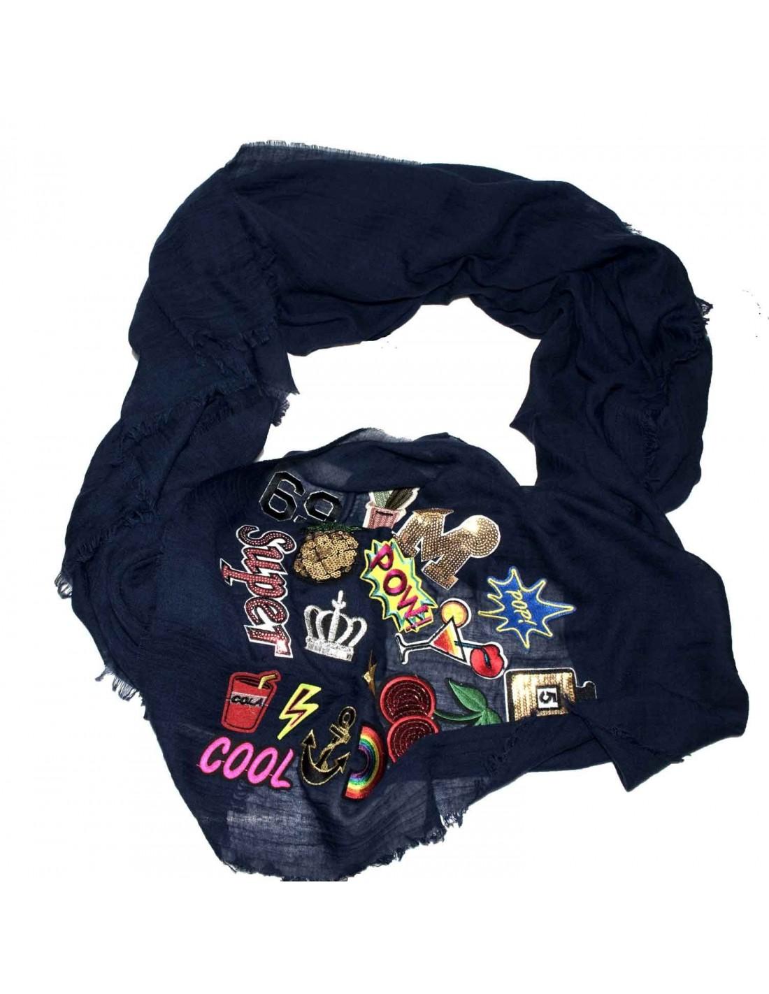 ... carré Patch écusson viscose bordeaux  foulard femme grand format 110cm  Patch écusson bleu marine ... 48fcc85ee6d