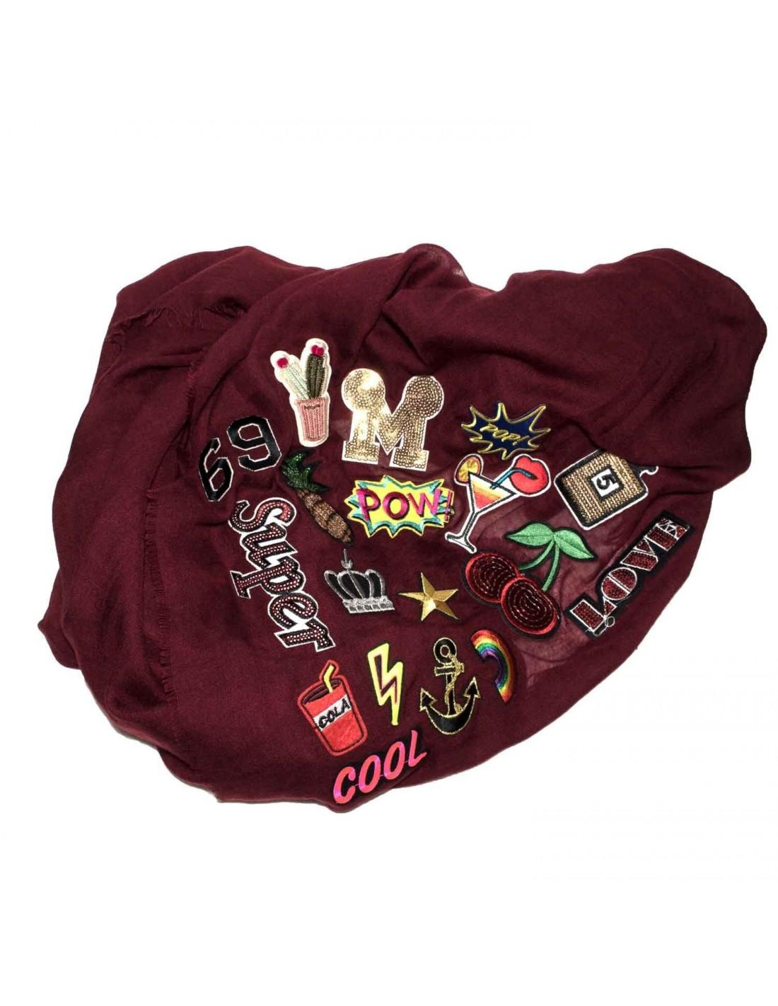... foulard femme grand format carré Patch écusson viscose bordeaux ... 6e9dd3c4685