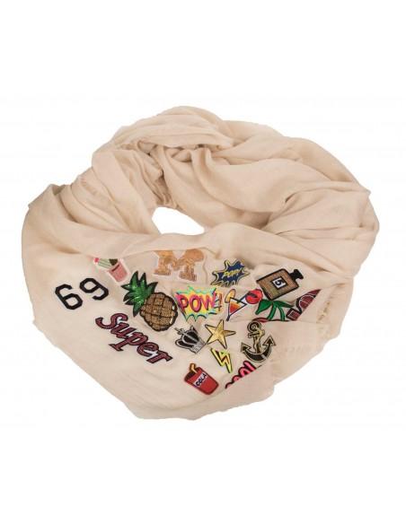 foulard patch ecusson femme beige grand format carré