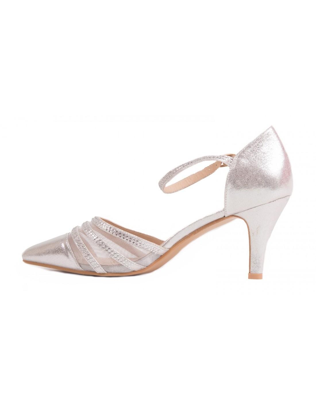 fdb0adc862a09a ... Chaussures mariage femme argenté ou noir grandes pointures à bouts  pointus & strass ...