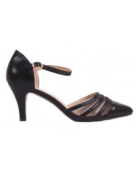 Chaussures mariage femme argenté ou noir grandes pointures à bouts pointus & strass