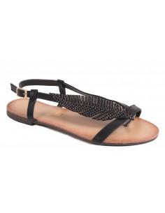 Sandales femme plume à strass avec brides nu-pied et semelle cuir
