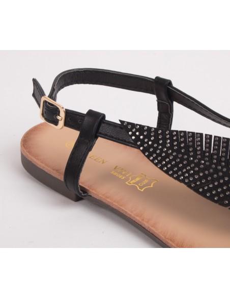 Sandales femme plume à strass avec brides nus pied et semelle cuir