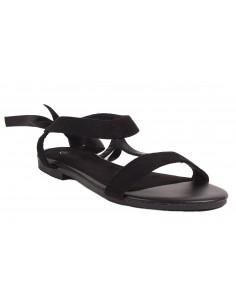 Sandales femme à ruban satiné forme nus pied aspect daim