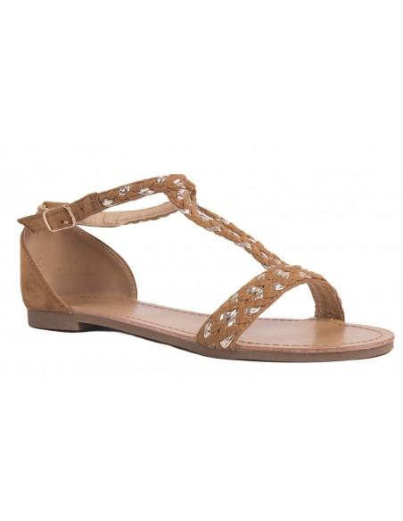 Sandales femme nus pieds bride tressée grandes pointures aspect daim et semelle cuir